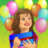 Weinig kind met de verjaardag van het heden Stock Afbeeldingen