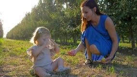 Weinig kindmeisje neemt mineraal glas water van moederhanden aanwezig zijnd op gras bij boomgaard tijdens het seizoen van het fru stock footage