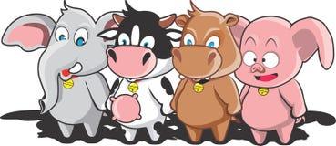 Weinig koe en vrienden Royalty-vrije Stock Afbeeldingen