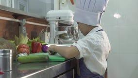 Weinig kok van de jongenschef-kok in schort en chef-kokhoeden kokend voedsel bij restaurantkeuken Grappig weinig vers kokknipsel stock footage