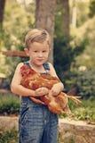 Weinig landbouwbedrijfjongen die rode kip houden Royalty-vrije Stock Foto