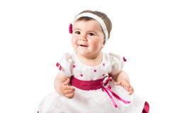Weinig leuk baby meisje in roze die kleding op witte achtergrond wordt ge soleerd stock - Baby meisje idee ...