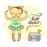 Weinig leuk katje in ballettutu met radio Inschrijving: best royalty-vrije illustratie