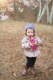 Weinig leuk meisje in een park van de kersenbloesem Stock Afbeelding