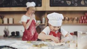 Weinig Leuk Meisje kookt op Comfortabele Keuken Het hebben van pret terwijl het maken van cakes en koekjes Haar moeder is op de a stock videobeelden