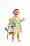 Weinig leuk meisje met mooie geel nam, romantische gift toe royalty-vrije stock foto