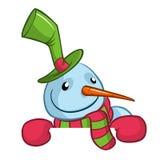 Weinig leuke glimlachende sneeuwman met sjaal en wollen GLB-holdings lege rol voor tekstuitnodiging Kerstmis of nieuwe jaarvector royalty-vrije illustratie