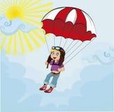 Weinig leuke jongen die met valscherm springen Vector illustratie Stock Afbeelding