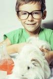 Weinig leuke jongen met geneeskundeglas isoleerde het dragen van glazen dicht omhoog glimlachend royalty-vrije stock foto
