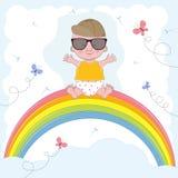 Weinig leuke jongenszitting op de regenboog Stock Illustratie