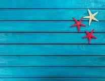 Weinig mariene punten op een houten achtergrond Royalty-vrije Stock Foto