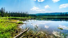 Weinig McGillivray-Meer, dichtbij Zonpieken in Brits Colombia, Canada royalty-vrije stock foto's