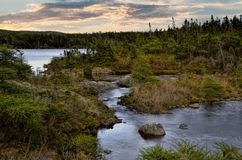 Weinig Militair Lake bij schemer royalty-vrije stock afbeeldingen
