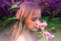 Weinig mooi meisje die een bloem ruiken Stock Afbeelding