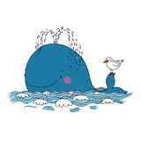 Weinig mooie walvis en zeemeeuw vector illustratie