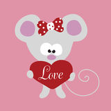 Weinig muis met groot hart Royalty-vrije Stock Foto's