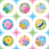 Weinig naadloos patroon van landbouwbedrijfdieren Royalty-vrije Stock Foto