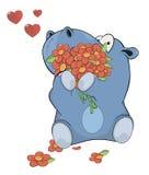 Weinig nijlpaard en bloemen beeldverhaal Royalty-vrije Stock Foto's