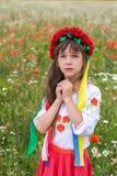 Weinig Oekraïens meisje bidt voor vrede Stock Fotografie