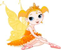 Weinig oranje feeballerina Stock Foto