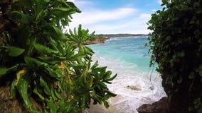 Weinig palmen over tropische lagune met wit strand Paradijseiland Nusa Lembongan, Bali, Indonesië Blauw water en stock footage
