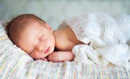 Weinig pasgeboren babyjongen 14 dagen, slaap Stock Fotografie
