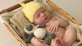 Weinig pasgeboren meisje 14 dagenslaap stock footage