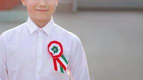 Weinig patriotjongen met Hongaarse kokardeclose-up, 15 maart Royalty-vrije Stock Afbeeldingen