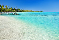 Weinig pier op tropisch strand met verbazend water Stock Foto's