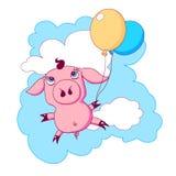 Weinig piggy met ballons die in de hemel vliegen Stock Fotografie