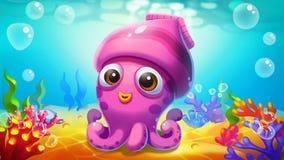 Weinig Pijlinktvis in het Overzees! vector illustratie