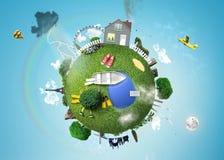 Weinig planeet met het huis vector illustratie