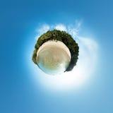 Weinig planeetpanorama op wit zandig strand Stock Foto