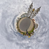 Weinig Planeetpanorama van Heilige Geestkathedraal, Minsk, Wit-Rusland stock fotografie