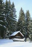 Weinig plattelandshuisje in de sneeuw Stock Afbeelding