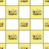Weinig pluizige leuke waterverfeendjes, kippen en hazen met eieren naadloos patroon op witte vectorillustratie als achtergrond Stock Afbeeldingen