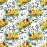 Weinig pluizige leuke waterverfeendjes, kippen en hazen met eieren naadloos patroon op witte vectorillustratie als achtergrond Stock Afbeelding