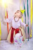 Weinig prinses bij haar één jaarverjaardag Royalty-vrije Stock Afbeelding