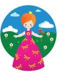 Weinig prinses met aardbei Royalty-vrije Stock Fotografie