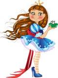 Weinig prinses met kikker Stock Afbeelding