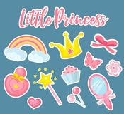 Weinig prinsesreeks moderne modieuze stickers, flardenkentekens Leuke, roze toebehoreninzameling met spiegel stock illustratie