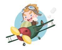 Weinig proefjongen die duim opheffen die uitstekende vliegtuigillustratie berijden royalty-vrije illustratie
