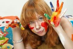 Weinig redhead meisje stock foto's