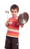 Weinig ridder van het jongensspel met keuken Stock Afbeeldingen