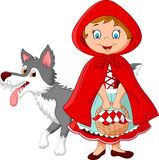 Weinig Rode Berijdende Kapvergadering met een wolf Stock Foto