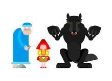 Weinig rode het berijden kapreeks Grootmoeder en kleindochter Wolf royalty-vrije illustratie