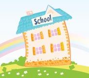 Weinig Schoolgebouw in aard stock illustratie