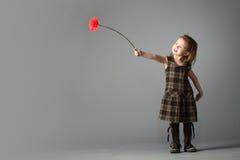 Weinig schoonheidsmeisje met rode bloem. Stock Foto's