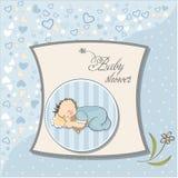 Weinig slaap van de babyjongen met zijn teddybeer Stock Afbeelding