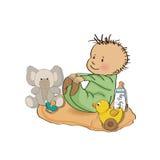 Weinig spel van de babyjongen met zijn stuk speelgoed Stock Afbeelding